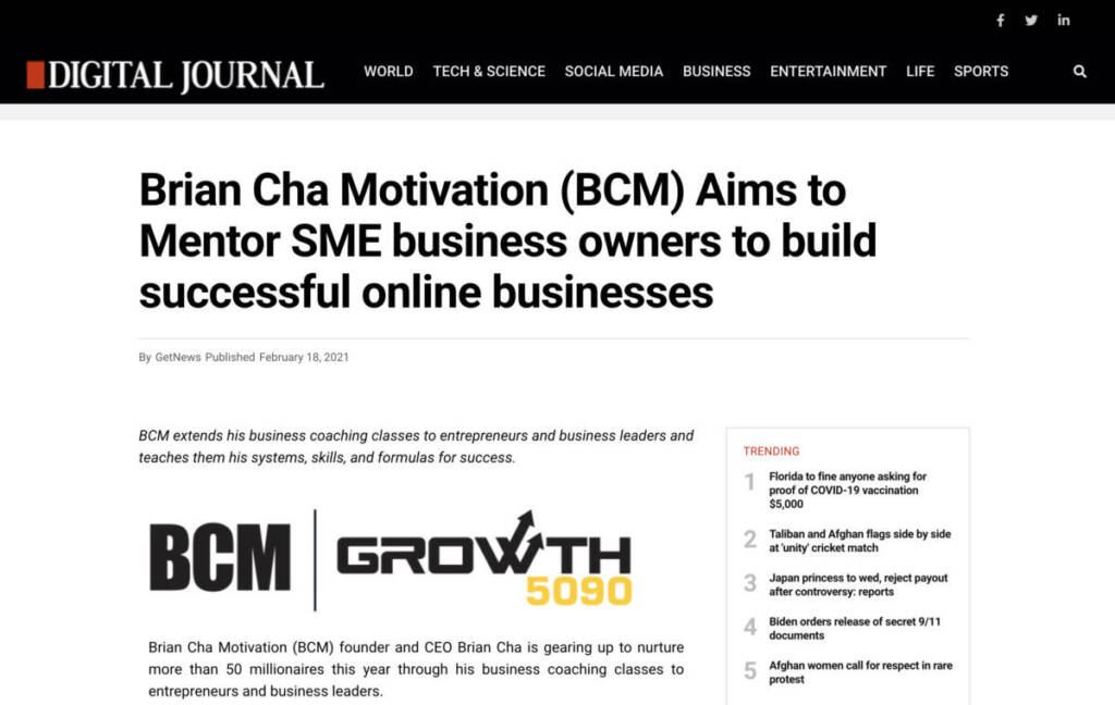 Image of Article 1 on Brian Cha Motivation